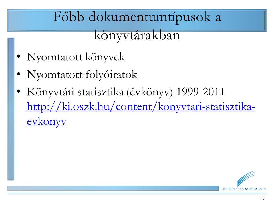 BIBLIOTHECA NATIONALIS HUNGARIAE 3 Főbb dokumentumtípusok a könyvtárakban Nyomtatott könyvek Nyomtatott folyóiratok Könyvtári statisztika (évkönyv) 19