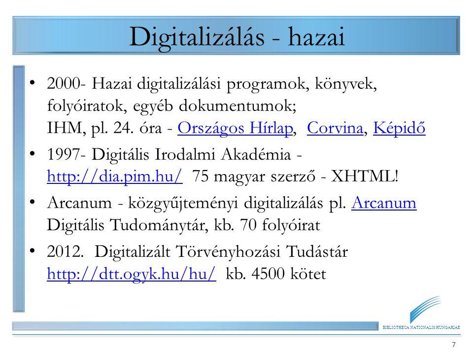 BIBLIOTHECA NATIONALIS HUNGARIAE 7 Digitalizálás - hazai 2000- Hazai digitalizálási programok, könyvek, folyóiratok, egyéb dokumentumok; IHM, pl. 24.
