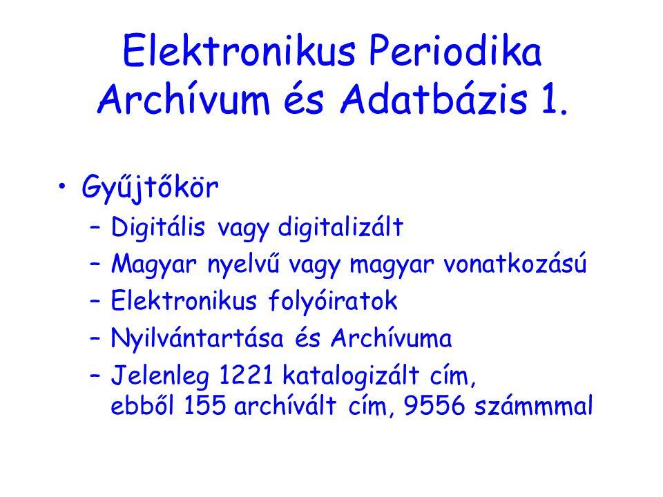 Elektronikus Periodika Archívum és Adatbázis 1.