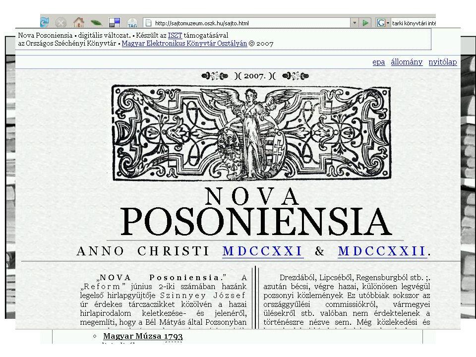 Sajtómúzeum Tartalma: –A magyar sajtótörténet honlapja –Digitalizált sajtó az OSZK-ban és más könyvtárakban –Sajtótörténeti bibliográfiák, cikkek, tanulmányok,