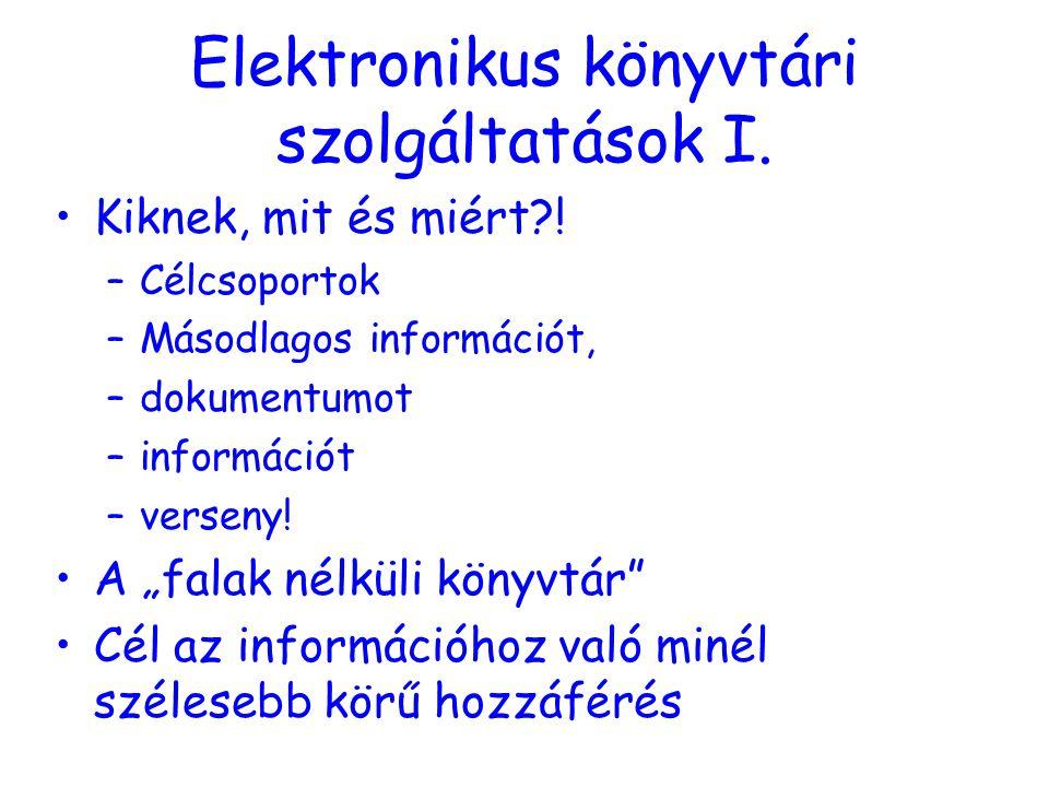 Elektronikus könyvtári szolgáltatások I. Kiknek, mit és miért .