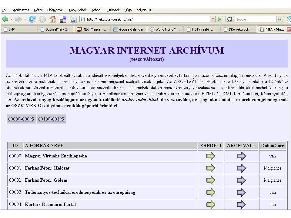 Tervek Digitális Képarchívum - DKA Magyar Internet Archívum - MIA