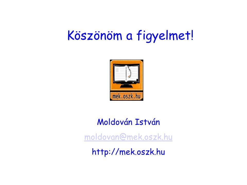 Köszönöm a figyelmet! Moldován István moldovan@mek.oszk.hu http://mek.oszk.hu