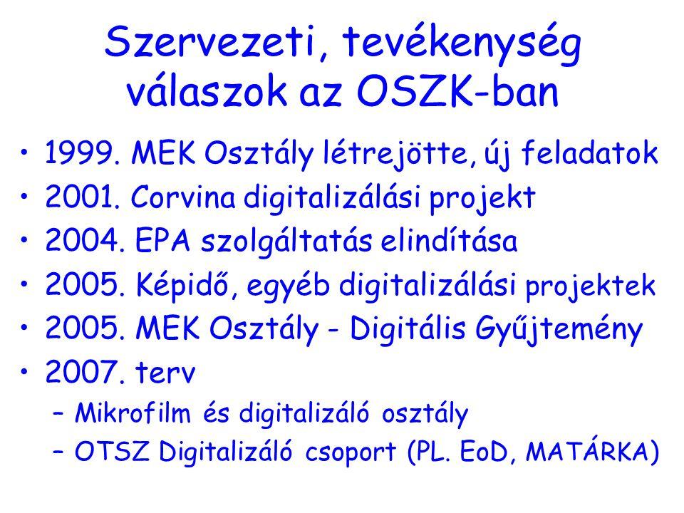 Szervezeti, tevékenység válaszok az OSZK-ban 1999.