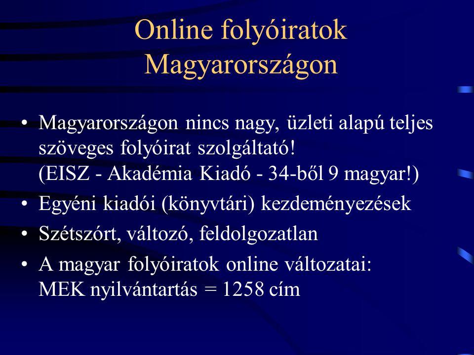 Online folyóiratok Magyarországon Magyarországon nincs nagy, üzleti alapú teljes szöveges folyóirat szolgáltató! (EISZ - Akadémia Kiadó - 34-ből 9 mag