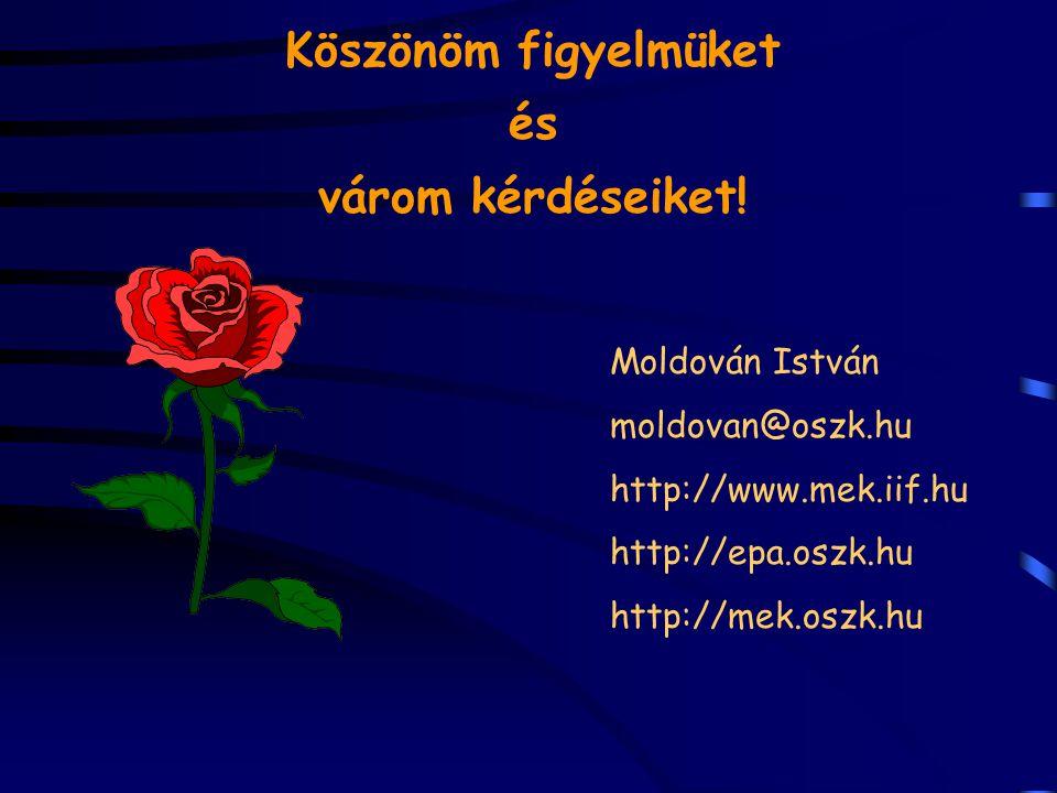 Köszönöm figyelmüket és várom kérdéseiket! Moldován István moldovan@oszk.hu http://www.mek.iif.hu http://epa.oszk.hu http://mek.oszk.hu