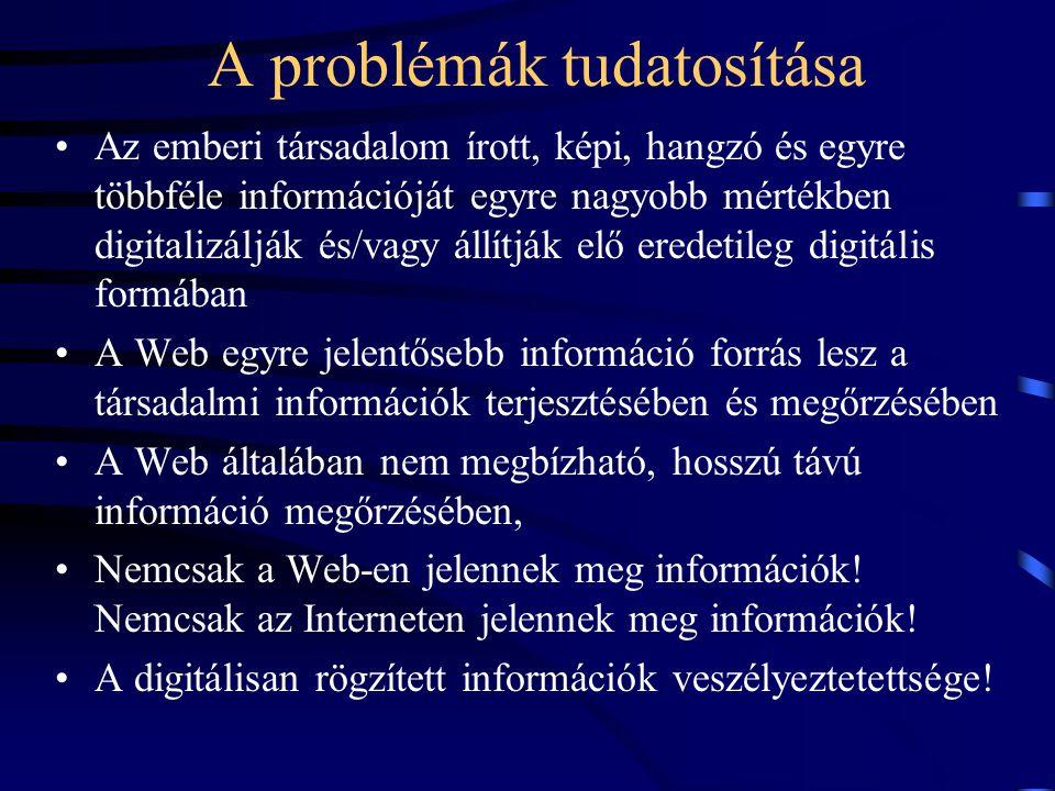 A digitális archiválás lehetőségei Web archiválás (szelektív - teljes), (statikus - dinamikus) Digitális kéziratok, dokumentumok - szerzők Kiadói nyersanyagok - konverzió.