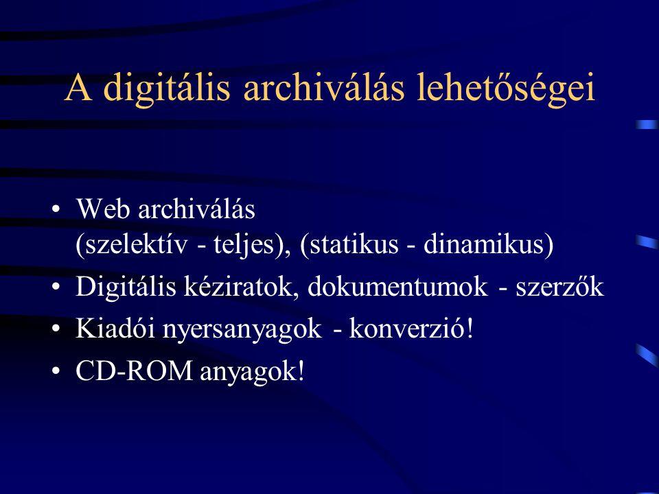 A digitális archiválás lehetőségei Web archiválás (szelektív - teljes), (statikus - dinamikus) Digitális kéziratok, dokumentumok - szerzők Kiadói nyer