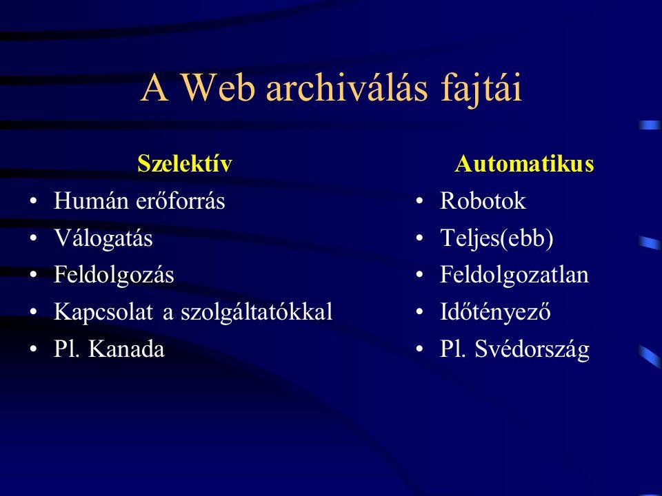 A Web archiválás fajtái Szelektív Humán erőforrás Válogatás Feldolgozás Kapcsolat a szolgáltatókkal Pl. Kanada Automatikus Robotok Teljes(ebb) Feldolg
