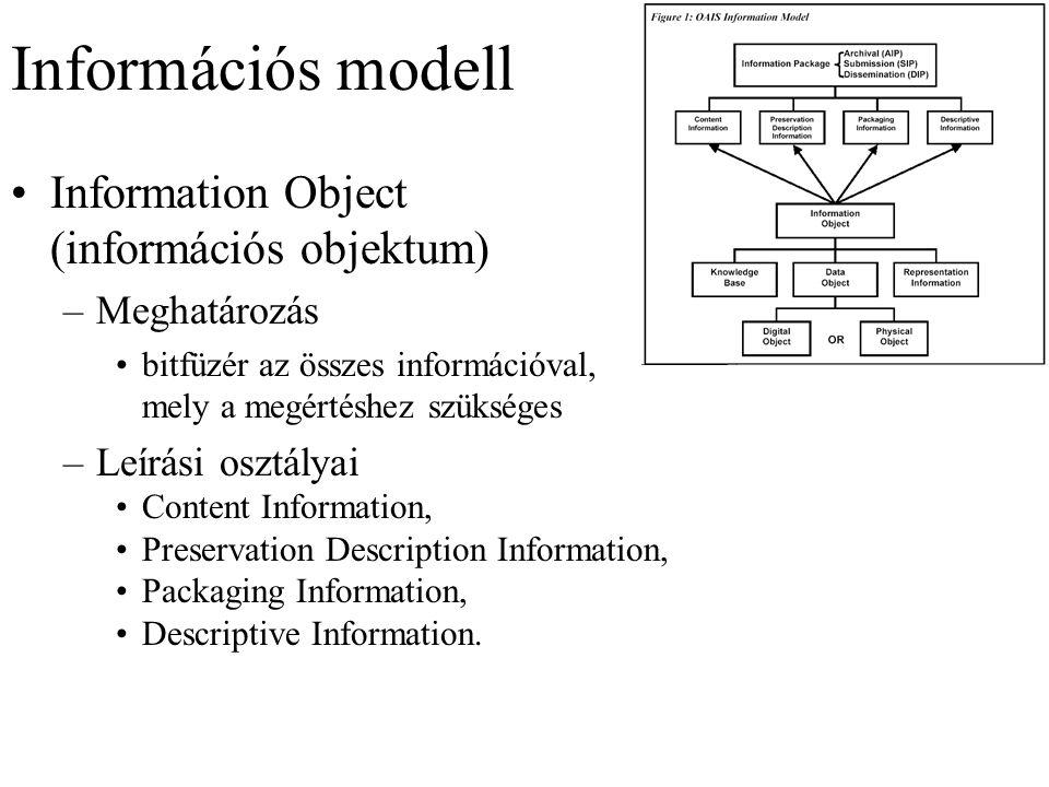 Információs modell Information Object (információs objektum) –Meghatározás bitfüzér az összes információval, mely a megértéshez szükséges –Leírási osztályai Content Information, Preservation Description Information, Packaging Information, Descriptive Information.