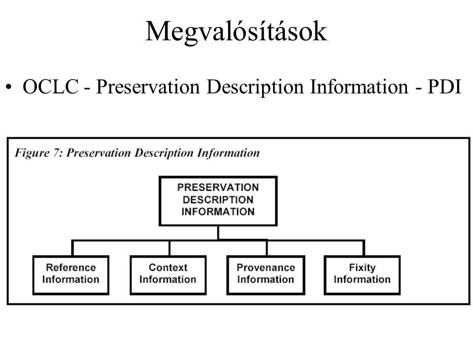 Megvalósítások OCLC - Preservation Description Information - PDI