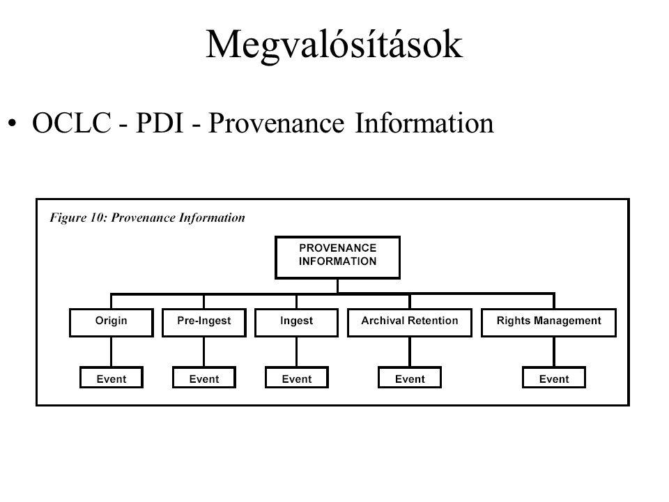 Megvalósítások OCLC - PDI - Provenance Information