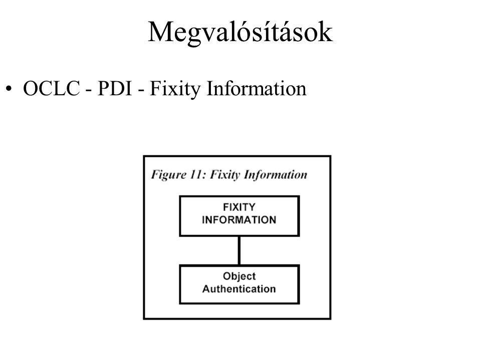 Megvalósítások OCLC - PDI - Fixity Information