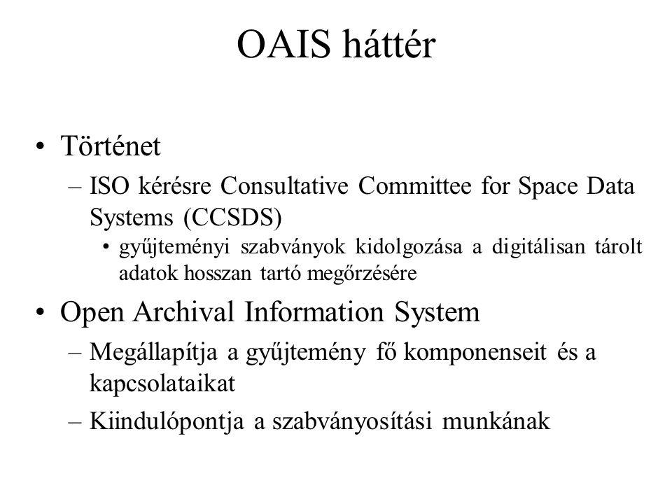 OAIS háttér Történet –ISO kérésre Consultative Committee for Space Data Systems (CCSDS) gyűjteményi szabványok kidolgozása a digitálisan tárolt adatok hosszan tartó megőrzésére Open Archival Information System –Megállapítja a gyűjtemény fő komponenseit és a kapcsolataikat –Kiindulópontja a szabványosítási munkának