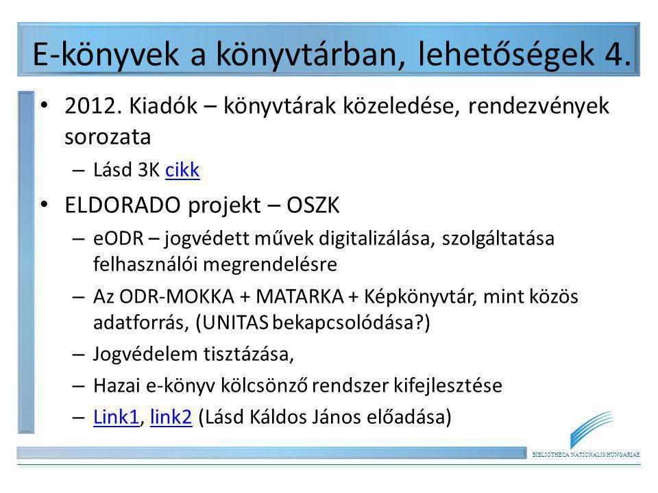 BIBLIOTHECA NATIONALIS HUNGARIAE E-könyvek a könyvtárban, lehetőségek 4. 2012. Kiadók – könyvtárak közeledése, rendezvények sorozata – Lásd 3K cikkcik