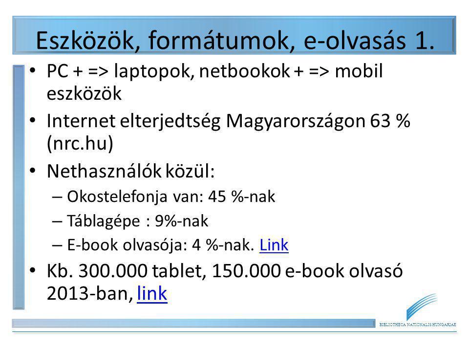 BIBLIOTHECA NATIONALIS HUNGARIAE Eszközök, formátumok, e-olvasás 1. PC + => laptopok, netbookok + => mobil eszközök Internet elterjedtség Magyarország