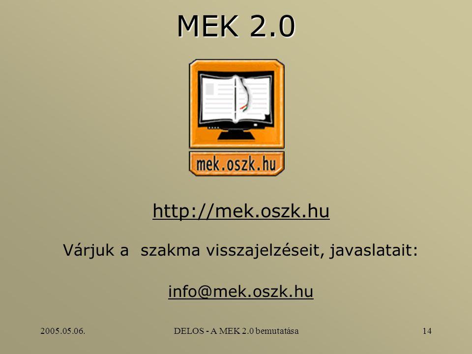 2005.05.06.DELOS - A MEK 2.0 bemutatása14 MEK 2.0 http://mek.oszk.hu Várjuk a szakma visszajelzéseit, javaslatait: info@mek.oszk.hu
