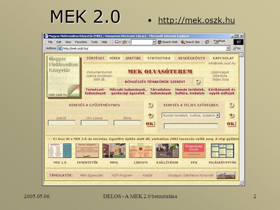 2005.05.06.DELOS - A MEK 2.0 bemutatása2 MEK 2.0 http://mek.oszk.hu