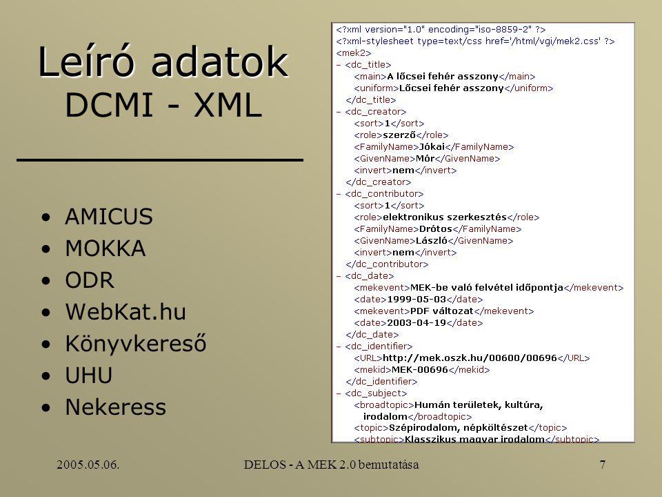 2005.05.06.DELOS - A MEK 2.0 bemutatása7 Leíró adatok Leíró adatok DCMI - XML AMICUS MOKKA ODR WebKat.hu Könyvkereső UHU Nekeress