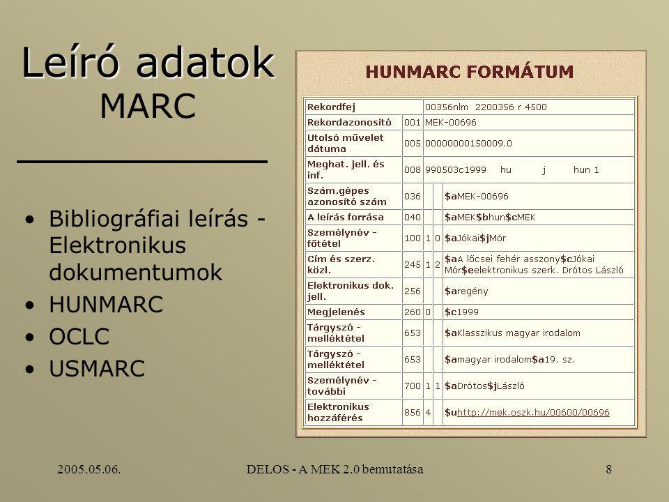 2005.05.06.DELOS - A MEK 2.0 bemutatása8 Leíró adatok Leíró adatok MARC Bibliográfiai leírás - Elektronikus dokumentumok HUNMARC OCLC USMARC