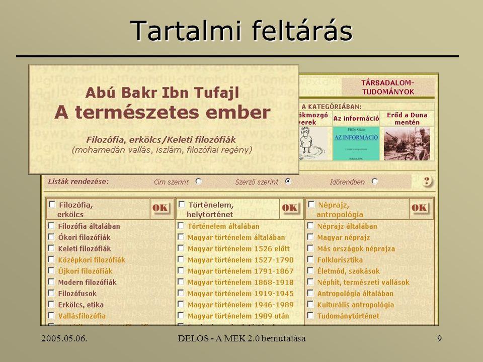 2005.05.06.DELOS - A MEK 2.0 bemutatása9 Tartalmi feltárás