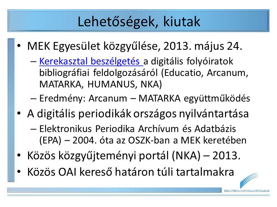 BIBLIOTHECA NATIONALIS HUNGARIAE Lehetőségek, kiutak MEK Egyesület közgyűlése, 2013. május 24. – Kerekasztal beszélgetés a digitális folyóiratok bibli
