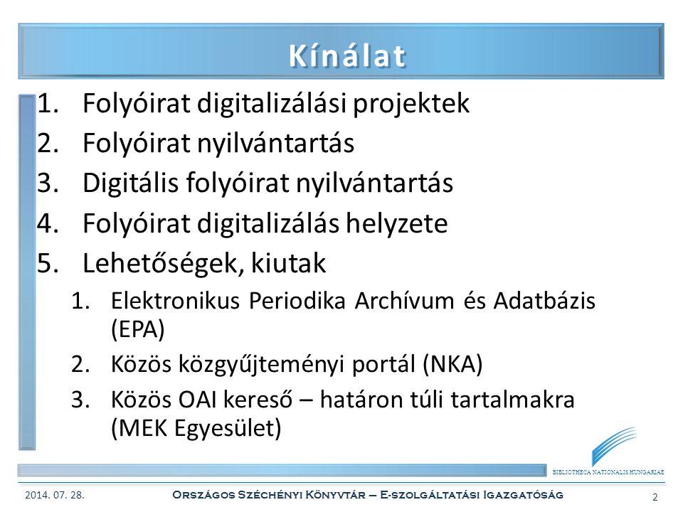 BIBLIOTHECA NATIONALIS HUNGARIAE Kínálat 1.Folyóirat digitalizálási projektek 2.Folyóirat nyilvántartás 3.Digitális folyóirat nyilvántartás 4.Folyóira