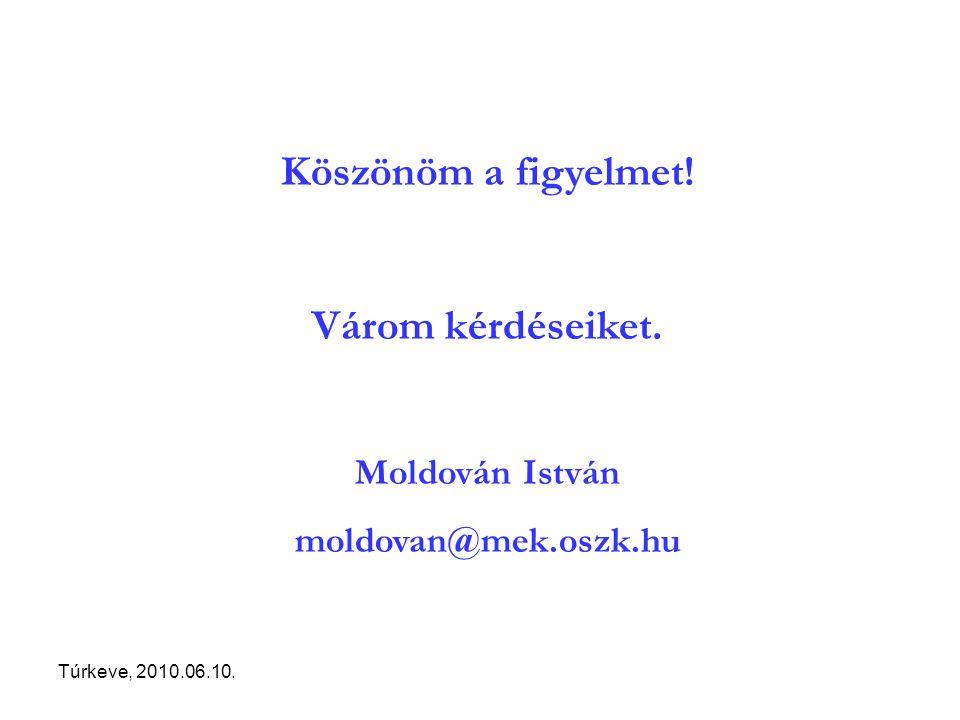 Túrkeve, 2010.06.10. Köszönöm a figyelmet! Várom kérdéseiket. Moldován István moldovan@mek.oszk.hu