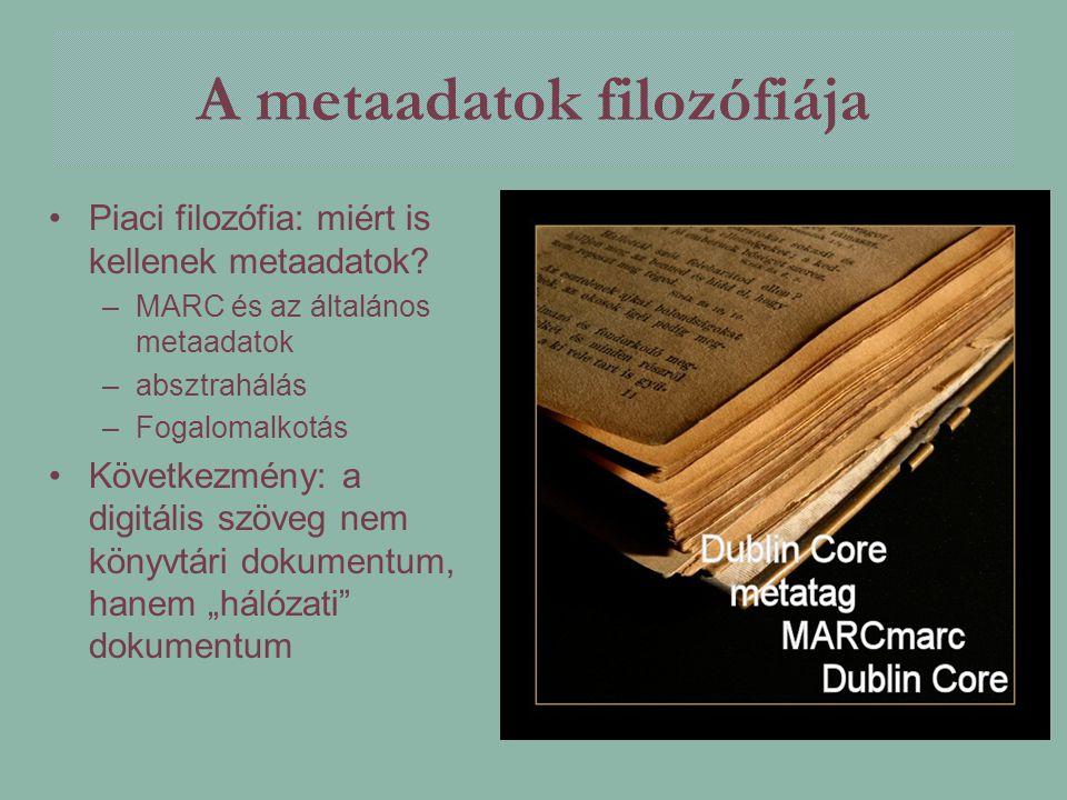 A metaadatok filozófiája Piaci filozófia: miért is kellenek metaadatok? –MARC és az általános metaadatok –absztrahálás –Fogalomalkotás Következmény: a
