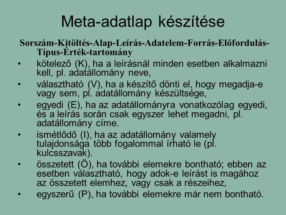 Meta-adatlap készítése Sorszám-Kitöltés-Alap-Leírás-Adatelem-Forrás-Előfordulás- Típus-Érték-tartomány kötelező (K), ha a leírásnál minden esetben alkalmazni kell, pl.