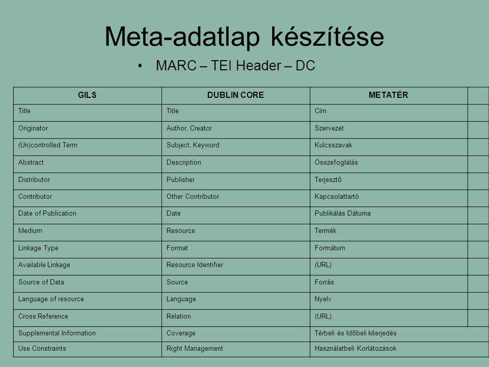 Meta-adatlap készítése MARC – TEI Header – DC GILSDUBLIN COREMETATÉR Title Cím OriginatorAuthor, CreatorSzervezet (Un)controlled TermSubject, KeywordKulcsszavak AbstractDescriptionÖsszefoglalás DistributorPublisherTerjesztő ContributorOther ContributorKapcsolattartó Date of PublicationDatePublikálás Dátuma MediumResourceTermék Linkage TypeFormatFormátum Available LinkageResource Identifier(URL) Source of DataSourceForrás Language of resourceLanguageNyelv Cross ReferenceRelation(URL) Supplemental InformationCoverageTérbeli és Időbeli kiterjedés Use ConstraintsRight ManagementHasználatbeli Korlátozások