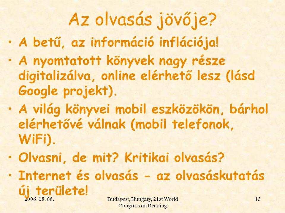 2006. 08. 08.Budapest, Hungary, 21st World Congress on Reading 13 Az olvasás jövője? A betű, az információ inflációja! A nyomtatott könyvek nagy része
