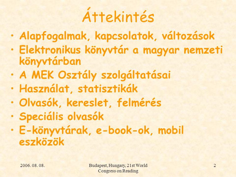 2006. 08. 08.Budapest, Hungary, 21st World Congress on Reading 2 Áttekintés Alapfogalmak, kapcsolatok, változások Elektronikus könyvtár a magyar nemze