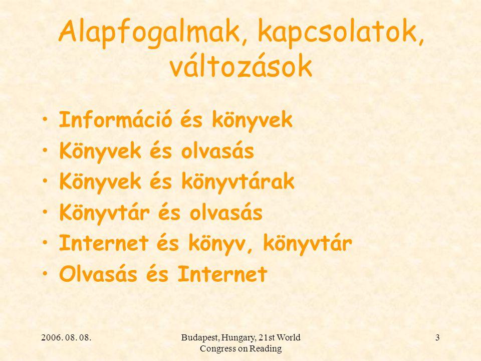 2006. 08. 08.Budapest, Hungary, 21st World Congress on Reading 3 Alapfogalmak, kapcsolatok, változások Információ és könyvek Könyvek és olvasás Könyve