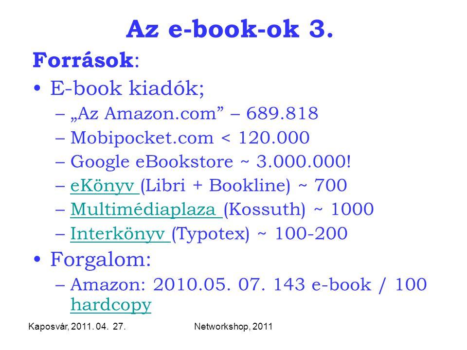 """Kaposvár, 2011. 04. 27.Networkshop, 2011 Az e-book-ok 3. Források : E-book kiadók; –""""Az Amazon.com"""" – 689.818 –Mobipocket.com < 120.000 –Google eBooks"""