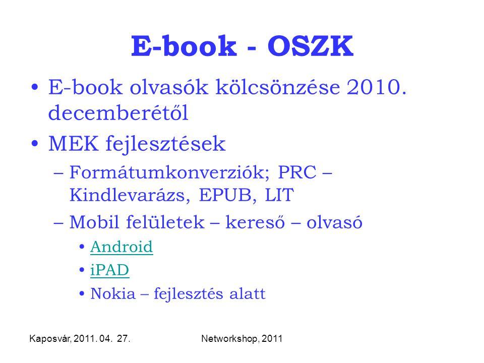 Kaposvár, 2011. 04. 27.Networkshop, 2011 E-book - OSZK E-book olvasók kölcsönzése 2010. decemberétől MEK fejlesztések –Formátumkonverziók; PRC – Kindl