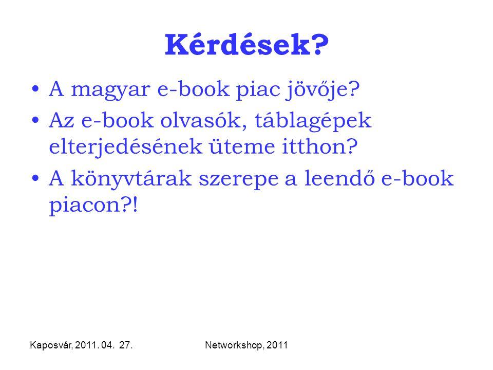 Kaposvár, 2011. 04. 27.Networkshop, 2011 Kérdések? A magyar e-book piac jövője? Az e-book olvasók, táblagépek elterjedésének üteme itthon? A könyvtára