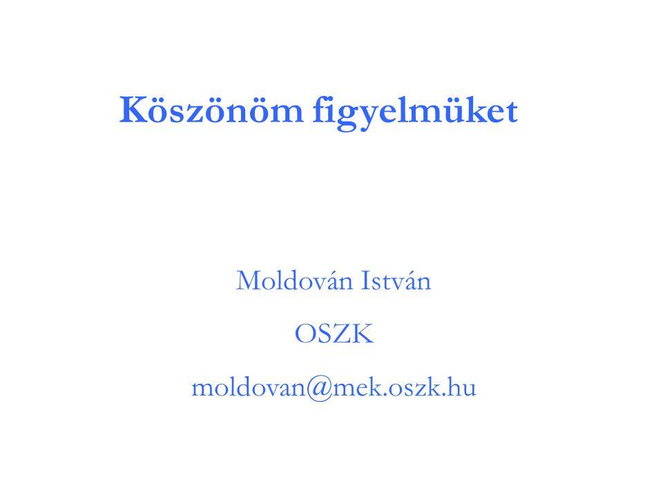 Köszönöm figyelmüket Moldován István OSZK moldovan@mek.oszk.hu