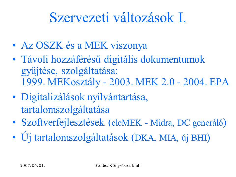 2007.06. 01.Kódex Könyvtáros klub Szervezeti változások II.