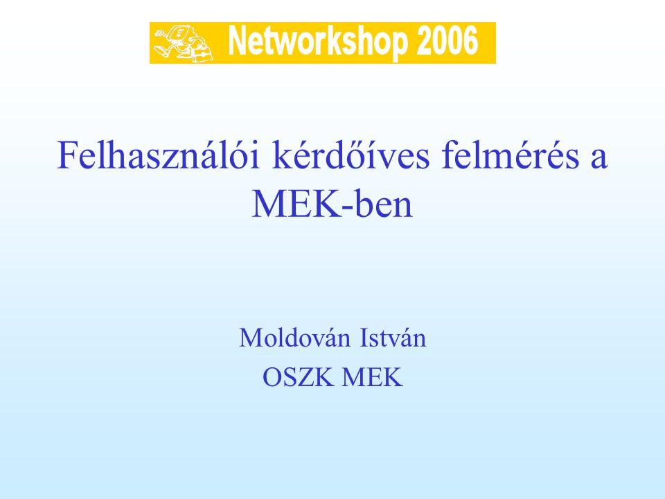 Felhasználói kérdőíves felmérés a MEK-ben Moldován István OSZK MEK
