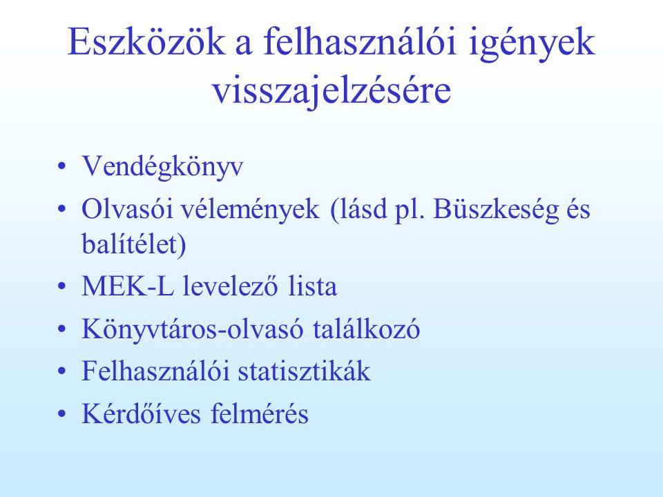 Eszközök a felhasználói igények visszajelzésére Vendégkönyv Olvasói vélemények (lásd pl.