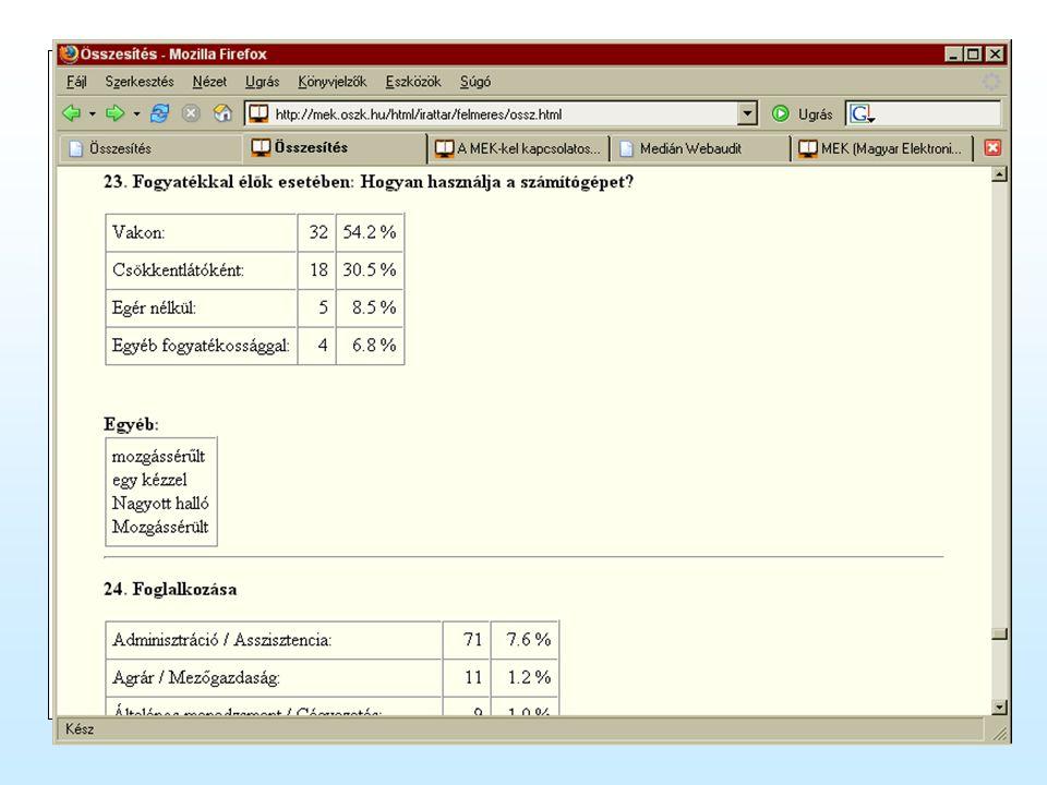 Felhasználók jellemzői Hozzáférés módjai (hálózati sebesség, böngészők, honnan internetezik) Személyes jellemzők (nem, életkor, lakhely, végzettség, fogyatékosság)