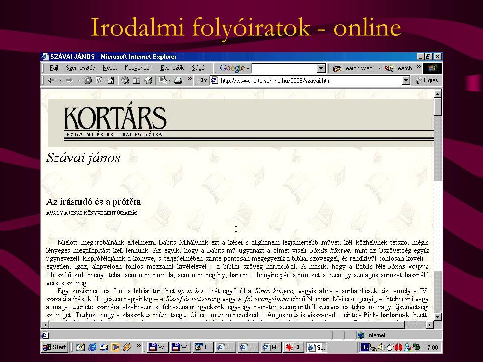 Irodalmi folyóiratok - online
