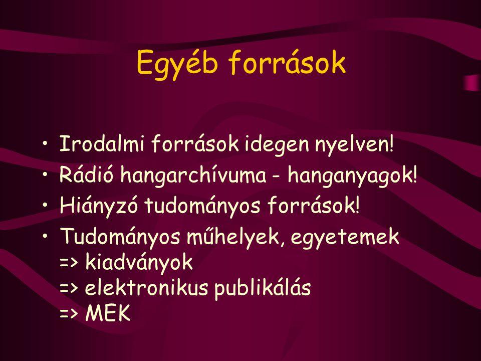 A Net használata és felhasználói Közép- és felsőoktatás Határon túli magyarok; - MEK.RO - MEK.SK Vakok és gyengénlátók; - VMEK