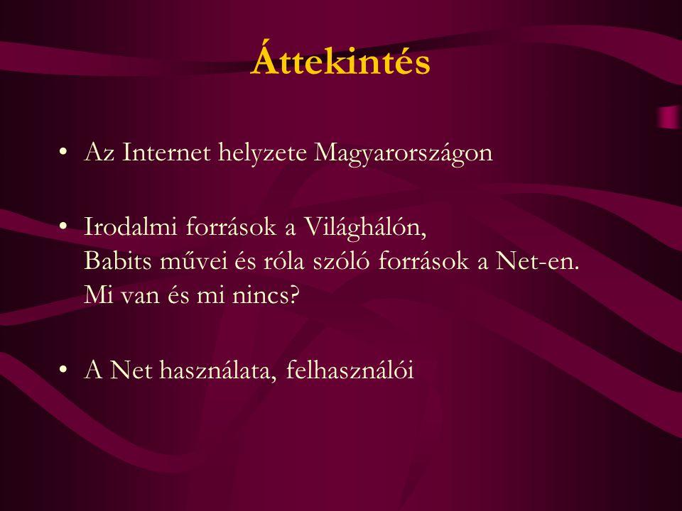 Áttekintés Az Internet helyzete Magyarországon Irodalmi források a Világhálón, Babits művei és róla szóló források a Net-en.