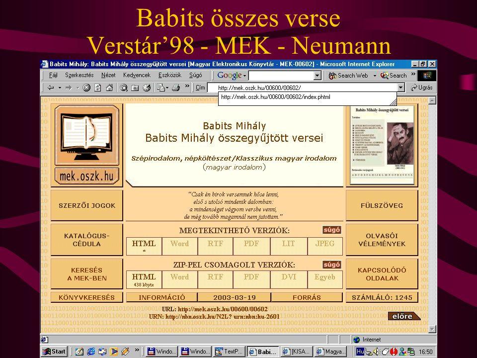 Babits összes verse Verstár'98 - MEK - Neumann