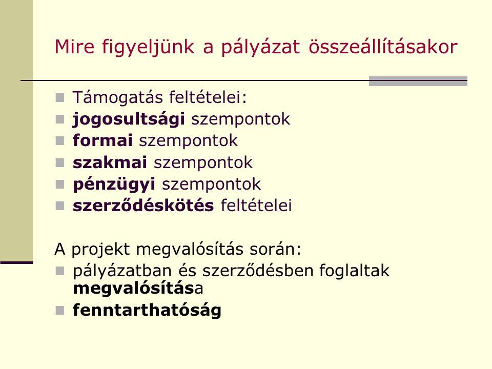 Mire figyeljünk a pályázat összeállításakor Támogatás feltételei: jogosultsági szempontok formai szempontok szakmai szempontok pénzügyi szempontok szerződéskötés feltételei A projekt megvalósítás során: pályázatban és szerződésben foglaltak megvalósítása fenntarthatóság