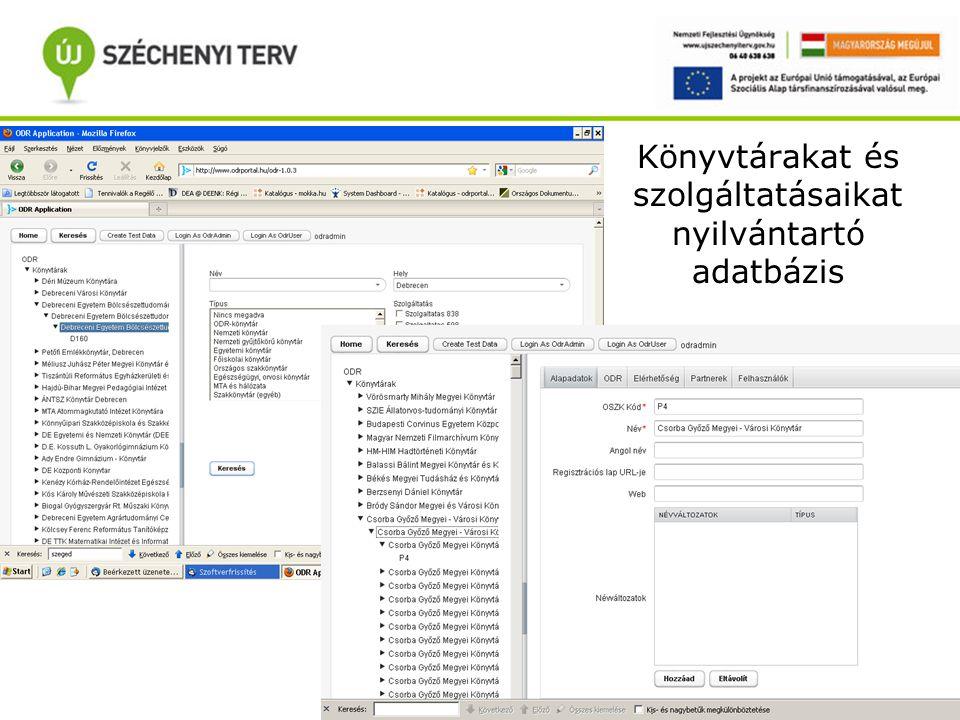 Könyvtárakat és szolgáltatásaikat nyilvántartó adatbázis