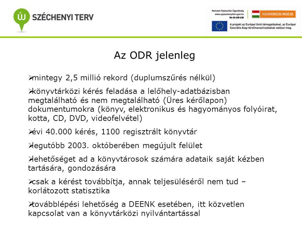 Az ODR jelenleg  mintegy 2,5 millió rekord (duplumszűrés nélkül)  könyvtárközi kérés feladása a lelőhely-adatbázisban megtalálható és nem megtalálható (Üres kérőlapon) dokumentumokra (könyv, elektronikus és hagyományos folyóirat, kotta, CD, DVD, videofelvétel)  évi 40.000 kérés, 1100 regisztrált könyvtár  legutóbb 2003.