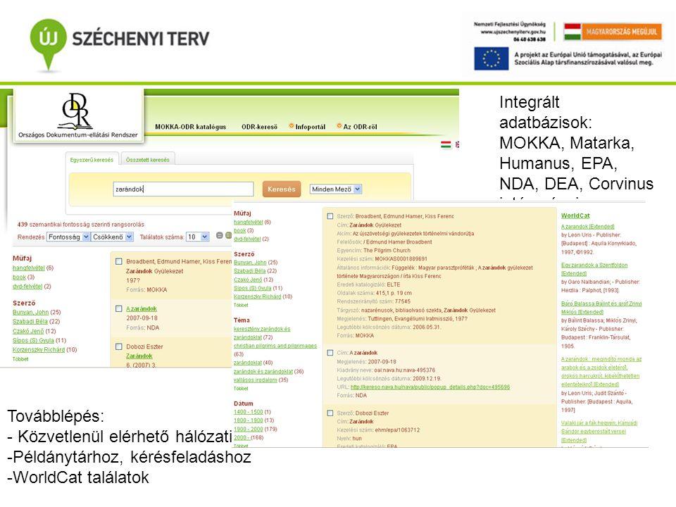 Portál Portál, ODR-kereső Integrált adatbázisok: MOKKA, Matarka, Humanus, EPA, NDA, DEA, Corvinus intézményi repozitoriuma.